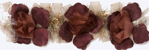 E5665 Mauve Wine Flower Stretchy Sewing Trim