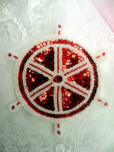 LC1519 Captain Wheel White Red Beaded Sequin Applique 6.5\