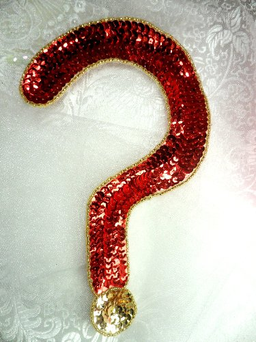 LC1533 Question Mark Red Gold Beaded Sequin Applique 8.5\