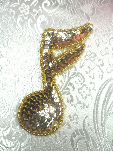 LC1544 Music Note Gold Beaded Sequin Applique 3.5\