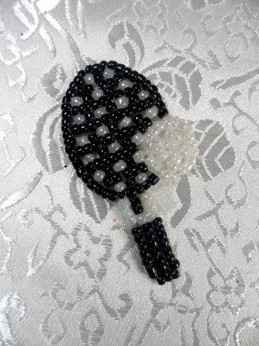 LC1554 Black White Tennis Racket Beaded  Applique 1.75\