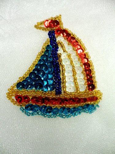 LC1558 Sail Boat Multicolored Beaded Sequin Applique 2.5\