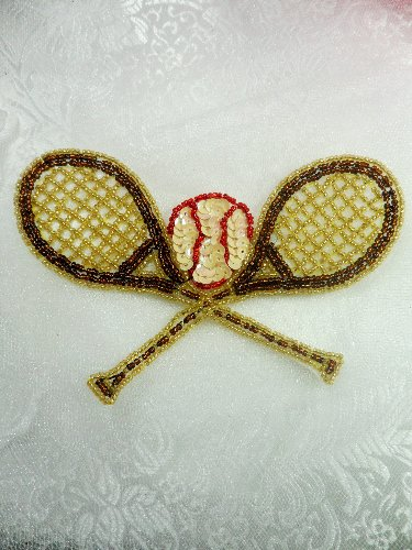 LC1559 Brown Gold Double Tennis Racket Beaded  Applique 5.5\