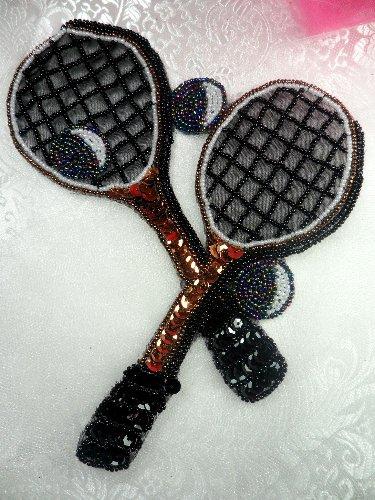 LC1560 Black MultiColor Double Tennis Racket Beaded  Applique 8\