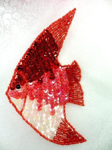LC1568 Red Fish Medium Sequin Beaded Applique 5.5