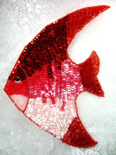 LC1569 Red Fish Large Sequin Beaded Applique 7\