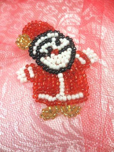 "LC1613 Christmas Santa Applique Beaded Sequin Patch 1.5"""