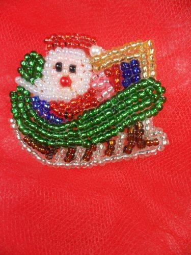 LC1614 Christmas Santa Applique Beaded Sequin Patch 1.25\