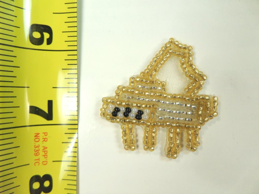 Piano Applique Beaded Patch Motif Gold 1.75 (LC1629)