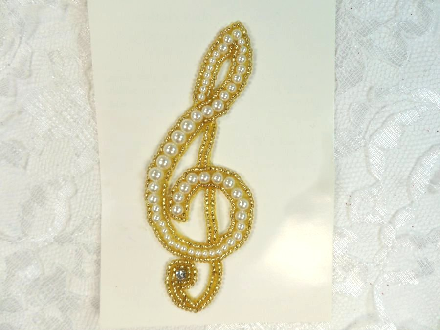 LC1636 Applique G Clef Musical Note Gold Pearl Beaded Patch 4