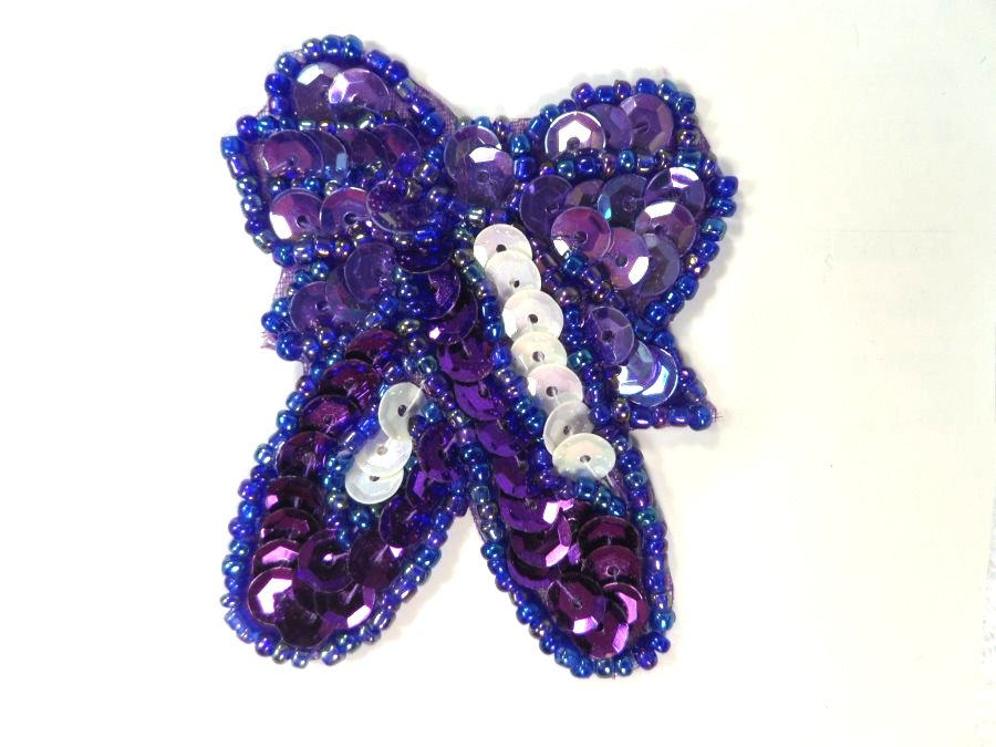LC1641 Ballerina slippers Applique Purple Beaded Ballet Shoes Patch 2.25