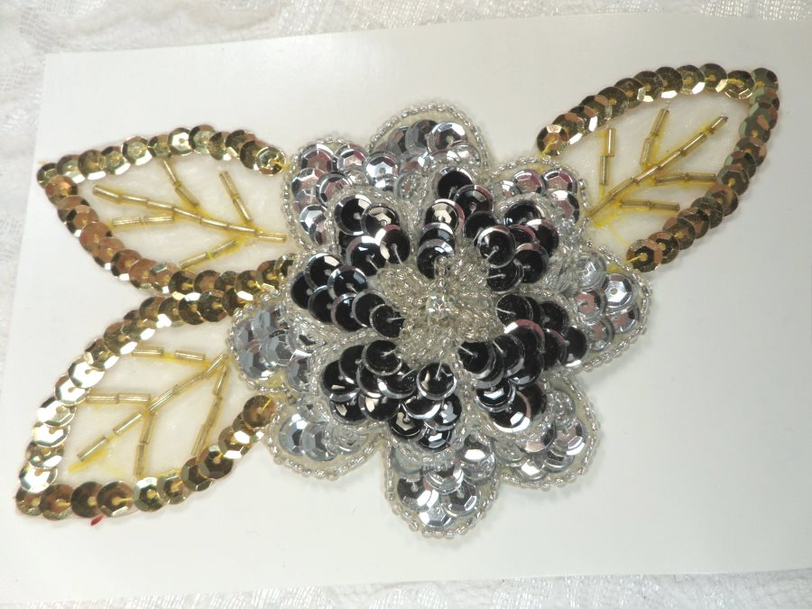 LC1656 Vintage Floral Applique Sequin beaded Flower Clothing Patch 5