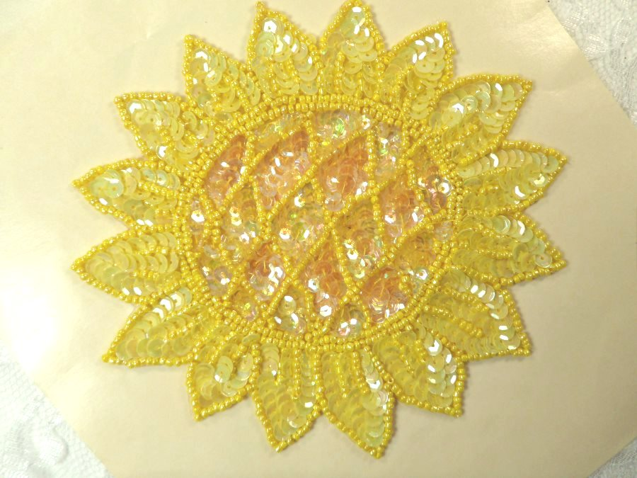 LC1660 Sunflower Applique Sequins w/ beads Sewing Crafts Floral Costume Patch 5.5