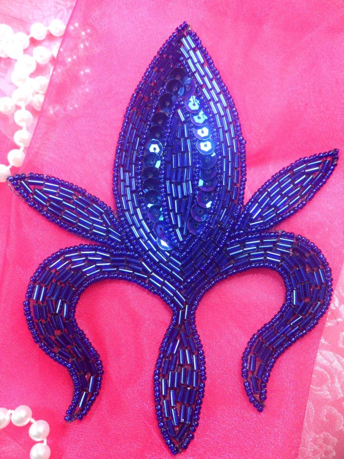 Applique Sequin Beaded Patch Motif Royal Blue Self Adhesive 5.5 (LC1731)