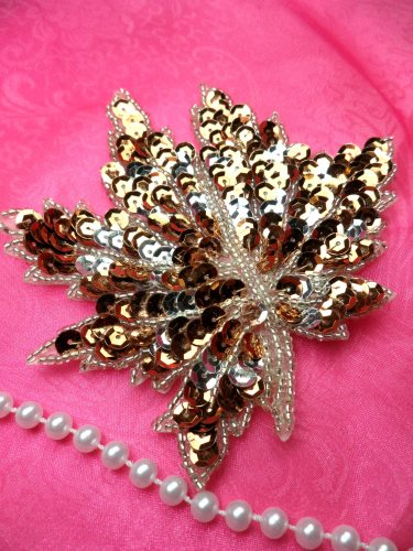 LC1742 Self Adhesive Brown w/ Silver Leaf Beaded Sequin Applique 4.5\