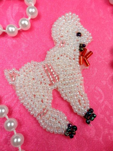 LC1758 Self Adhesive White Poodle Beaded Applique 2.25\