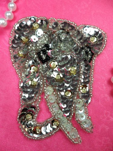 LC1760 Self Adhesive Silver Elephant Beaded Sequin Applique 3