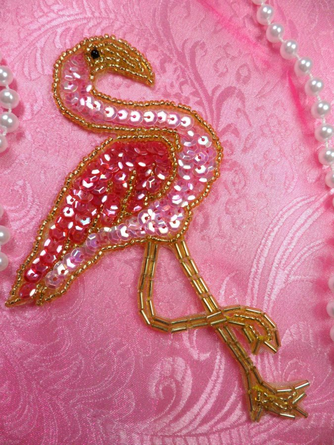 Flamingo Applique Sequin Beaded Patch Motif Gold Pink Self Adhesive 4.5 (LC1792)