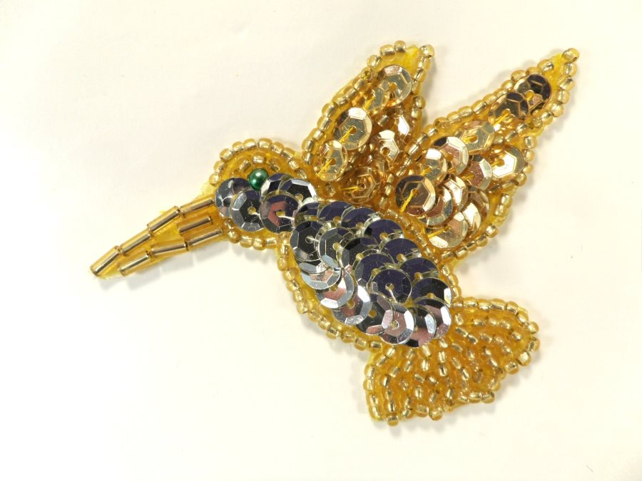 Hummingbird Sequin Applique Beaded Patch Motif Silver Gold 3 (LC1803)