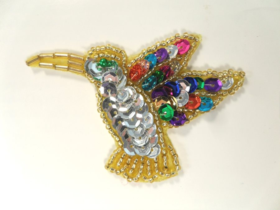 Hummingbird Applique Sequin Beaded Patch Motif Silver Multicolored 3 (LC1803)