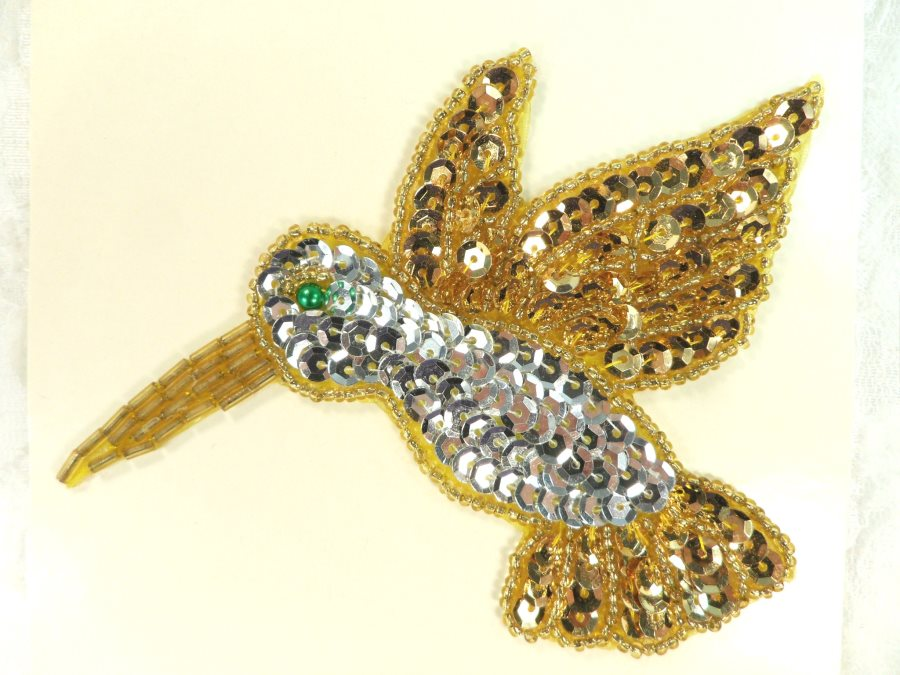 Hummingbird Sequin Applique Beaded Patch Motif Silver Gold 4.25 (LC1805)