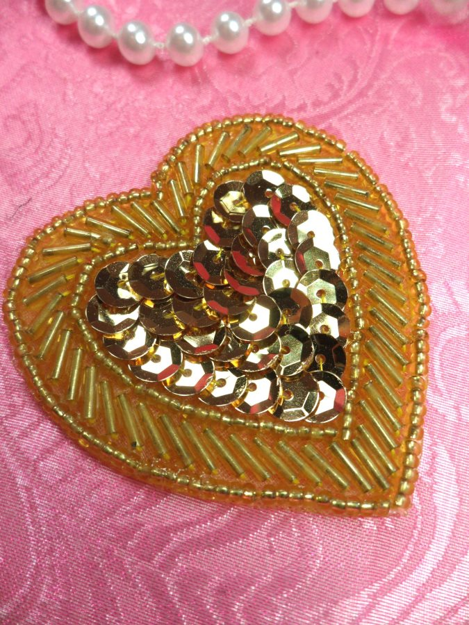 Heart Sequin Applique Beaded Patch Motif Gold Self Adhesive 2.25 (LC1811)