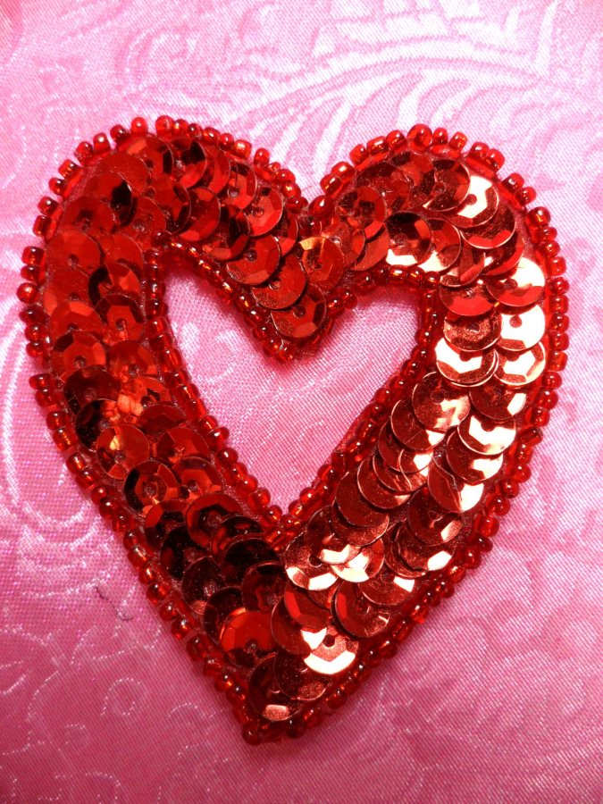 Heart Sequin Applique Beaded Patch Motif Red Self Adhesive 2.25 (LC1813)