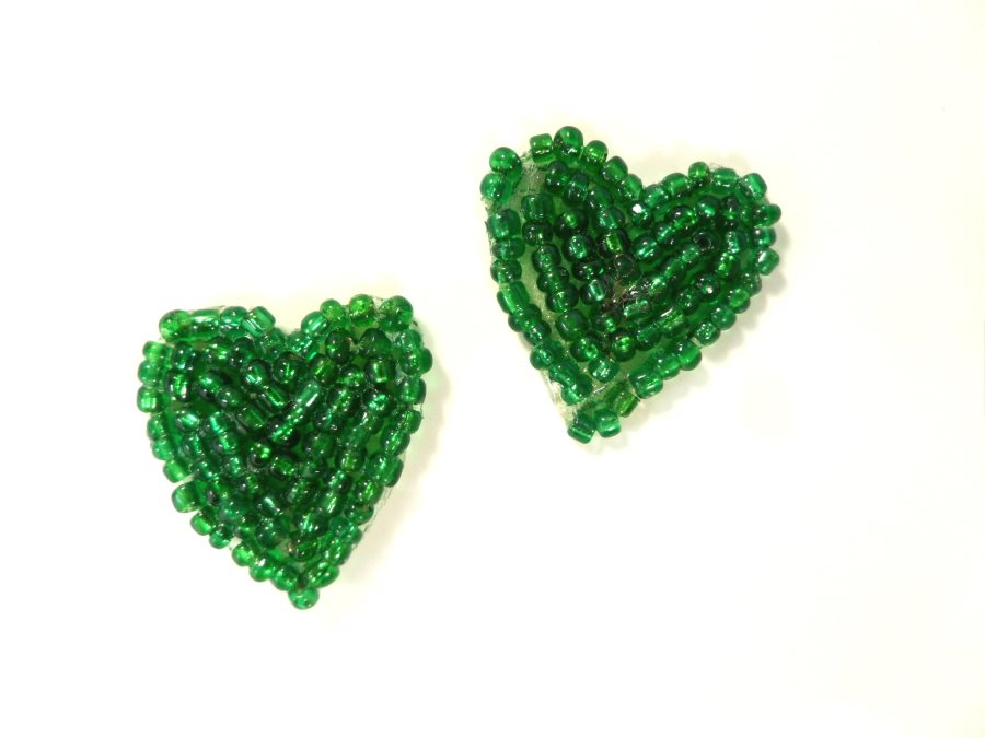 Heart Applique Beaded Patch Motif Green 1 (LC1814)