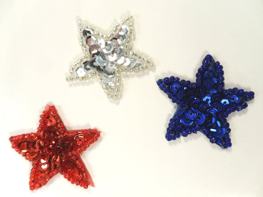 Patriotic Star Sequin Applique Beaded Patch Motif Red White Blue 1.25 (LC1816)
