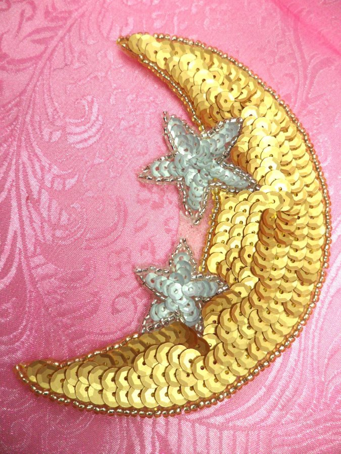 Moon Applique With Stars Sequin Beaded Patch Motif Gold Silver Self Adhesive 3.75 (LC1818)