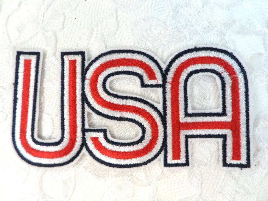 LC1821 Patriotic USA Embroidered Iron on Applique 4.75