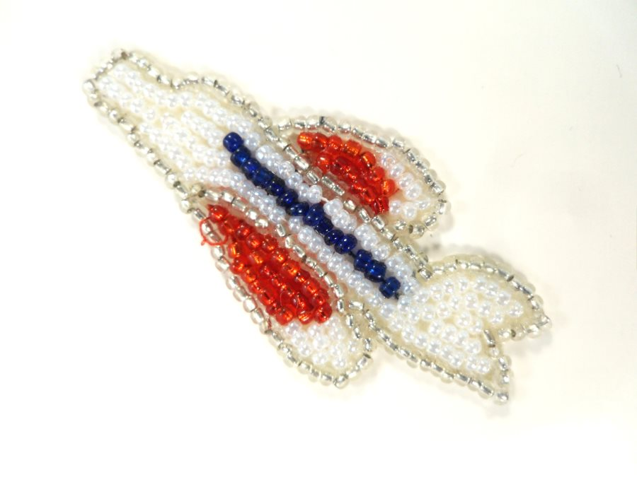 Airplane Applique Beaded Patch Motif Red White Blue 2.25 (LC1823)
