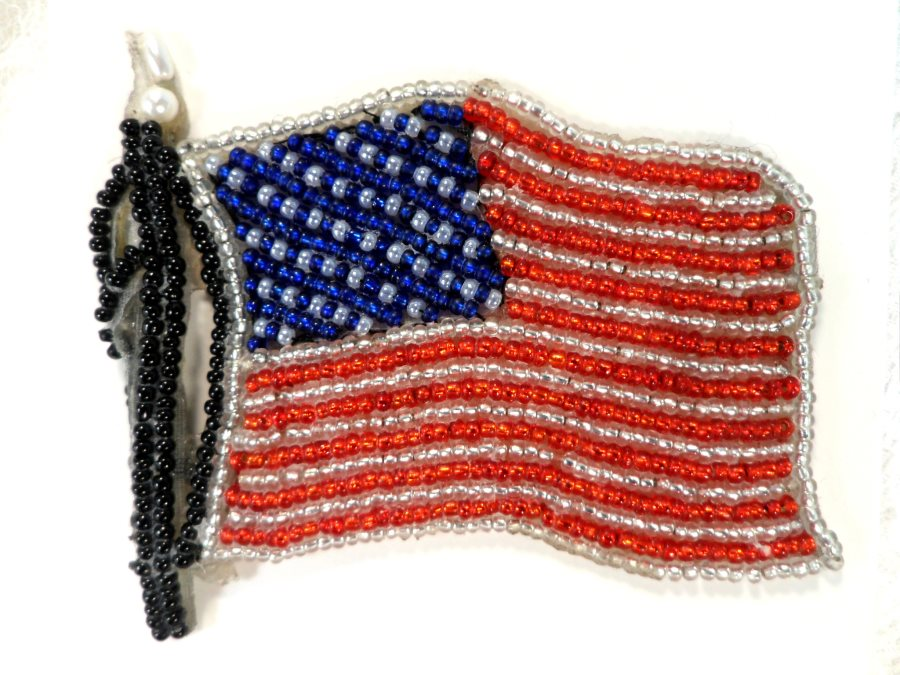 American Flag Applique Beaded Patch Motif Red White Blue 3.5 (LC1826)