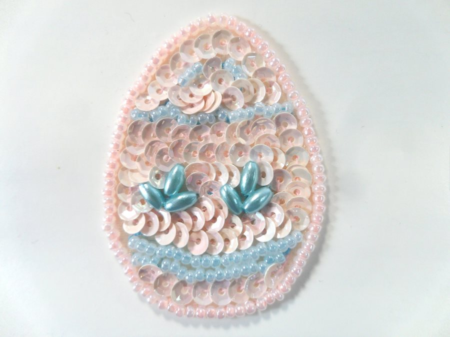 Easter Egg Applique Beaded Sequin Patch Pink Blue 2 (LC1857)