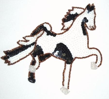 LC307  Black White Horse Beaded Sequin Applique 6