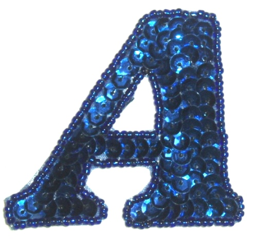 LC527  Letter  ( A ) Sequin Beaded Applique 2.25