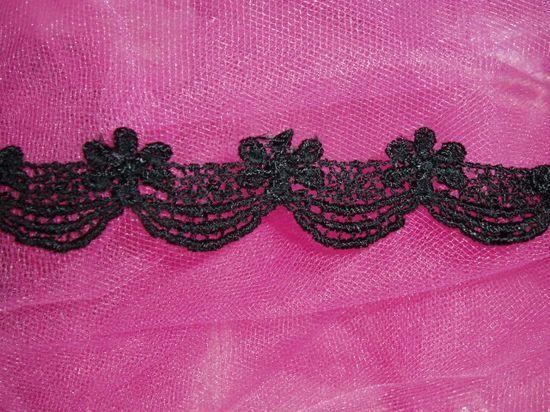 C45  Black Venise Lace Victorian Sewing Trim 1-1/8