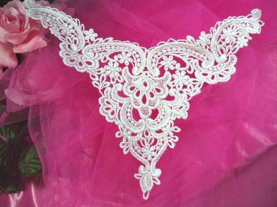F2  White Venise Lace Victorian Yoke Collar Applique 10\