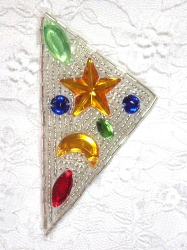 MA82 Silver Beaded Jewel Hair Bow / Brooch / Applique  2