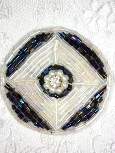 MA120 Crystal AB Black AB Round Beaded Rhinestone Hair Bow / Brooch / Applique 1.75