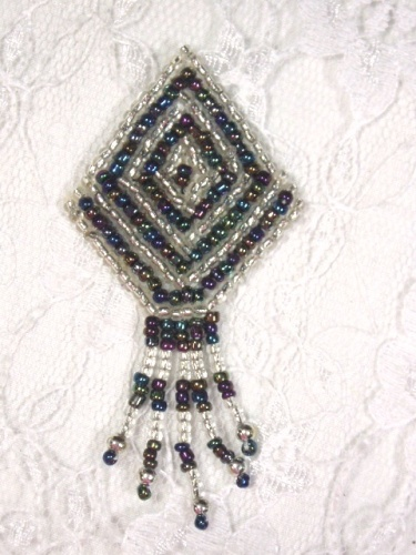 MA126 Black AB Silver Beaded Dangle Earrings / Brooch / Hair Bow Applique 2.75