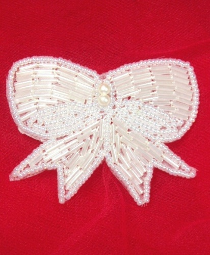 MA126C White Pearl Beaded Hair Bow / Brooch / Applique 3