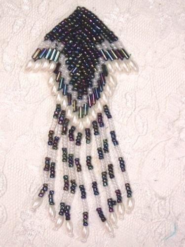 MA126 Black AB White Pearl  Beaded Dangle Hair Bow / Earrings / Brooch / Applique 4