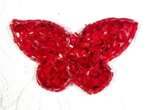 MA160 Red Beaded Sequin Butterfly Brooch / Earrings / Applique 2