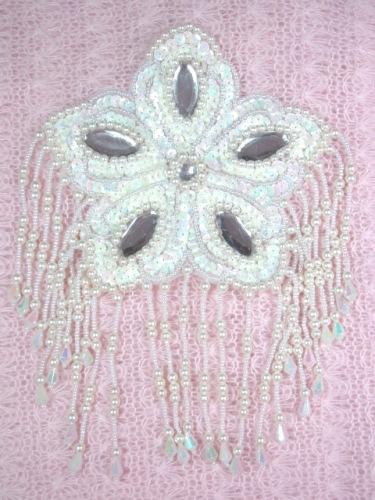 MA179 White AB Flower Jewel Sequin Beaded Dangle Epaulet Applique 8