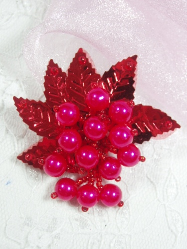 MA269 Red Leaf Dangle Earring / Brooch / Hair Bow / Applique 2.5