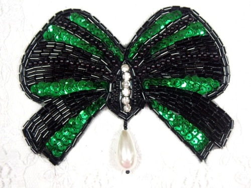 MA337 Green & Black Bow Sequin Beaded Dangle Hair Bow / Brooch / Applique 4.5