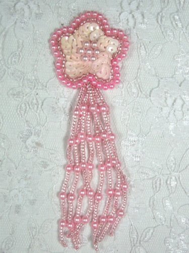 MA42 Pink AB Sequin Beaded Dangle Hair Bow / Brooch / Earrings / Applique 4.25\