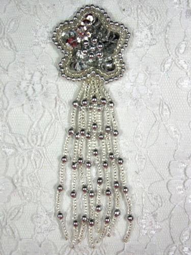 MA42 Silver Sequin Beaded Dangle Hair Bow / Brooch / Earrings / Applique 4.25