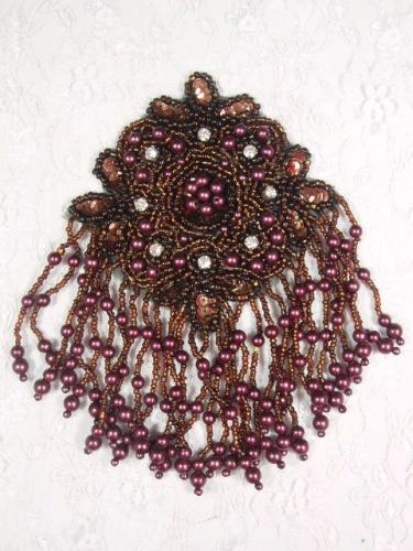 MA65 Bronze & Wine Rhinestone Beaded Sequin Dangle Epaulet Hair Bow / Brooch / Applique 6